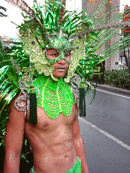 Exotic creatures roamed the streets as well as hunks in more basic attire