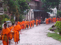 Daily processions of monks seeking alms